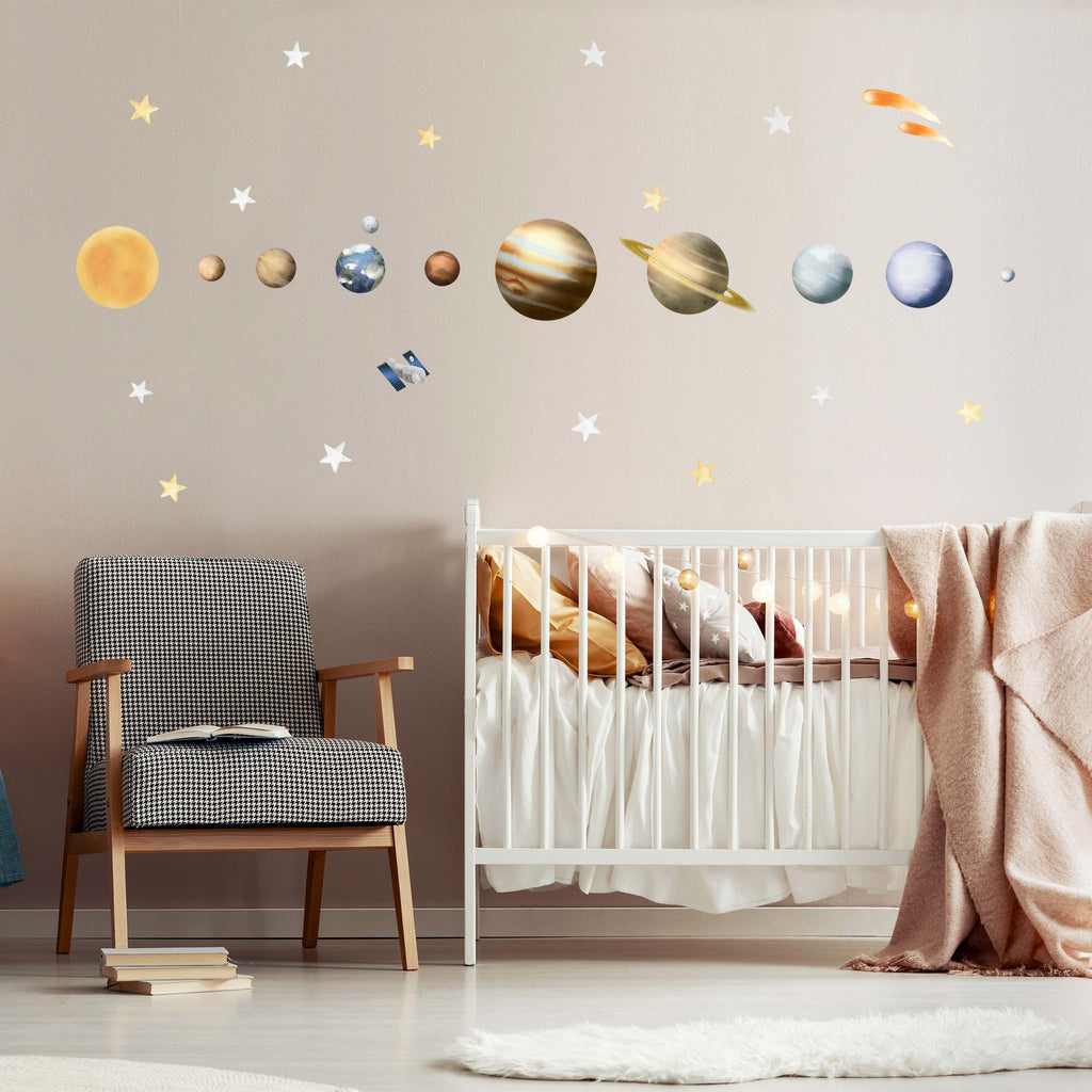 Solar System, Watercolour wall stickers, wall decals by Made of Sundays