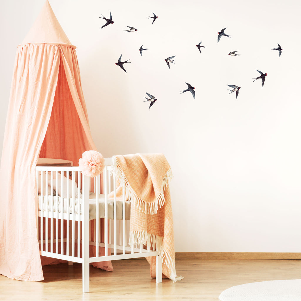 Swallows Watercolour Bird Wall Stickers, wall decals by Made of Sundays