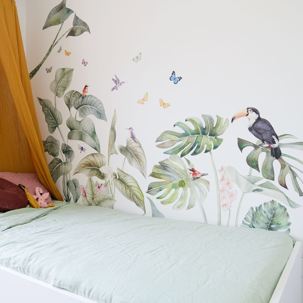Tropical Jungle Wall Stickers with Birds