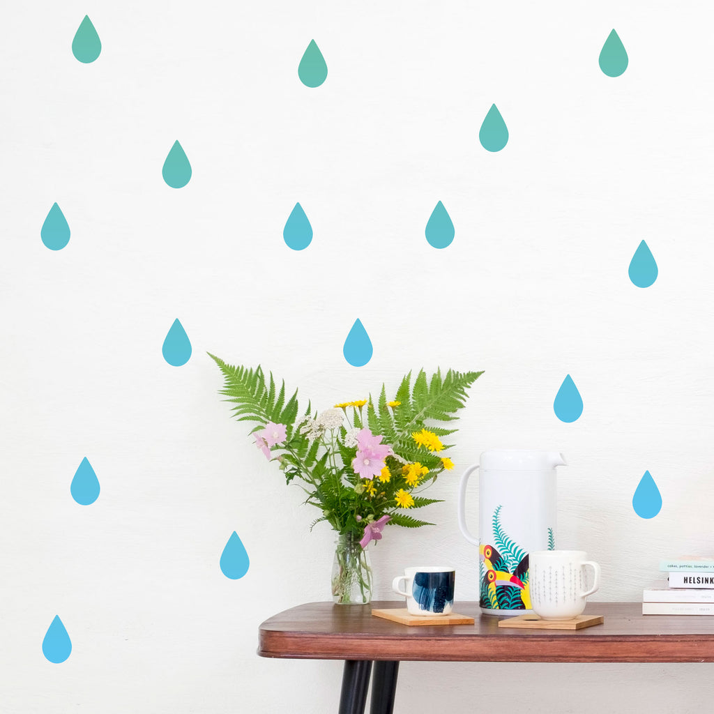 Gradient Raindrops Wall Stickers, wall decals by Made of Sundays