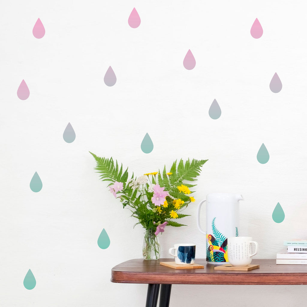 Gradient Rain Drops Wall Stickers, wall decals by Made of Sundays