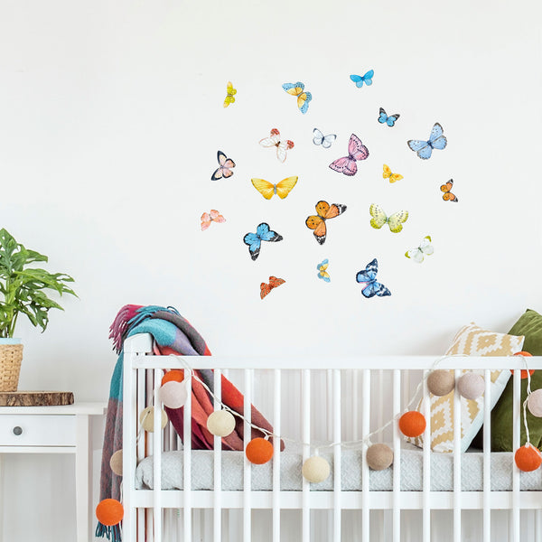 Butterflies Watercolour, wall decals by Made of Sundays