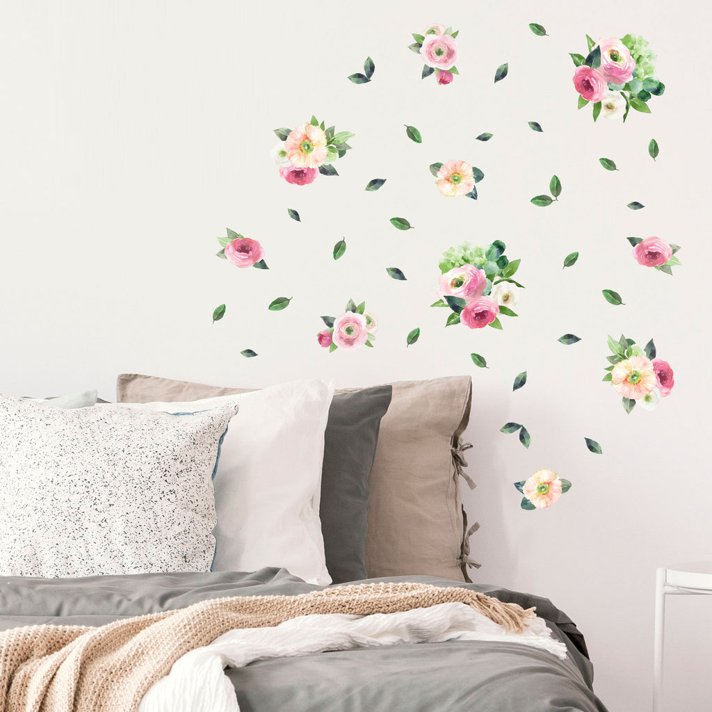 Pink Garden Watercolour Flowers Wall Stickers, wall decals by Made of Sundays