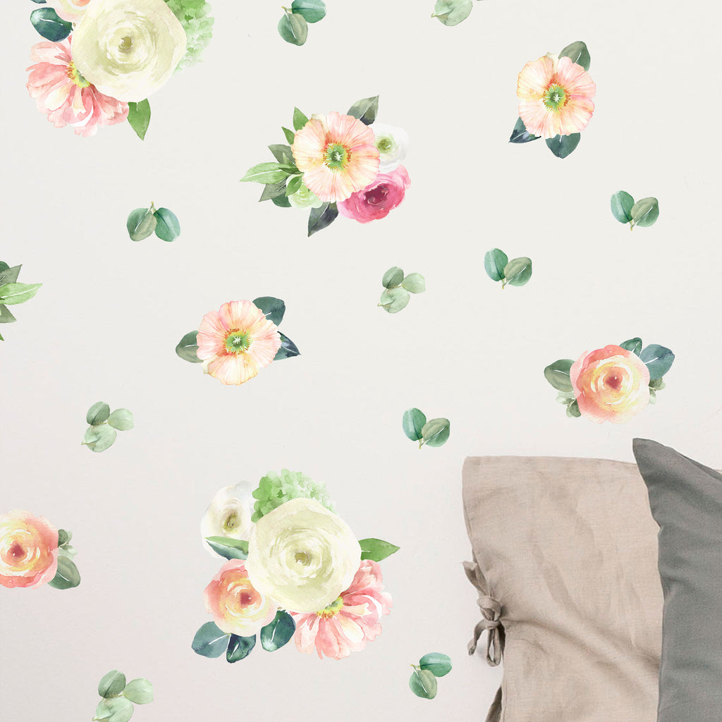 Warm Garden Watercolour Flowers Wall Stickers, wall decals by Made of Sundays