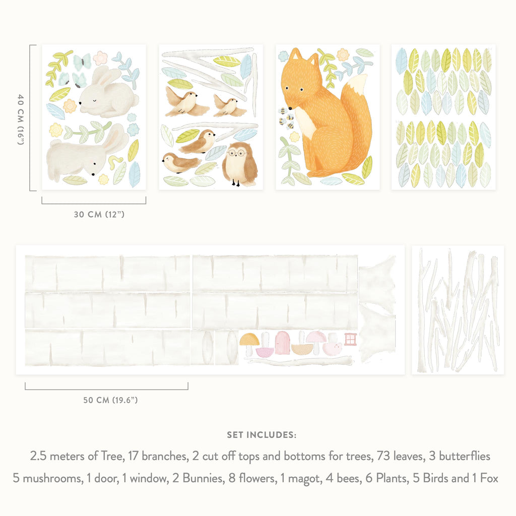 Woodland Spring Forest & Animals Theme Pack, wall decals by Made of Sundays