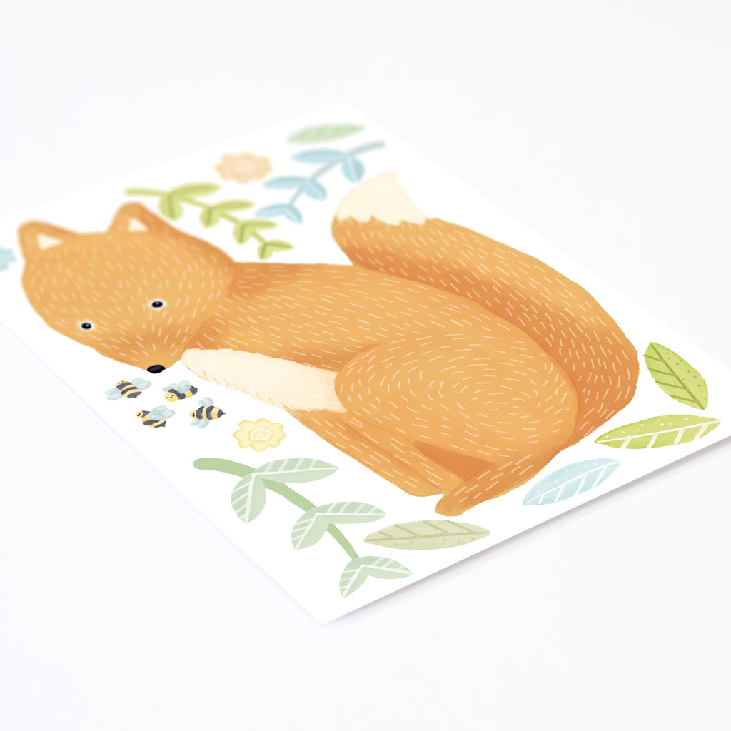 Woodland Spring Fox, Wall Sticker, wall decals by Made of Sundays
