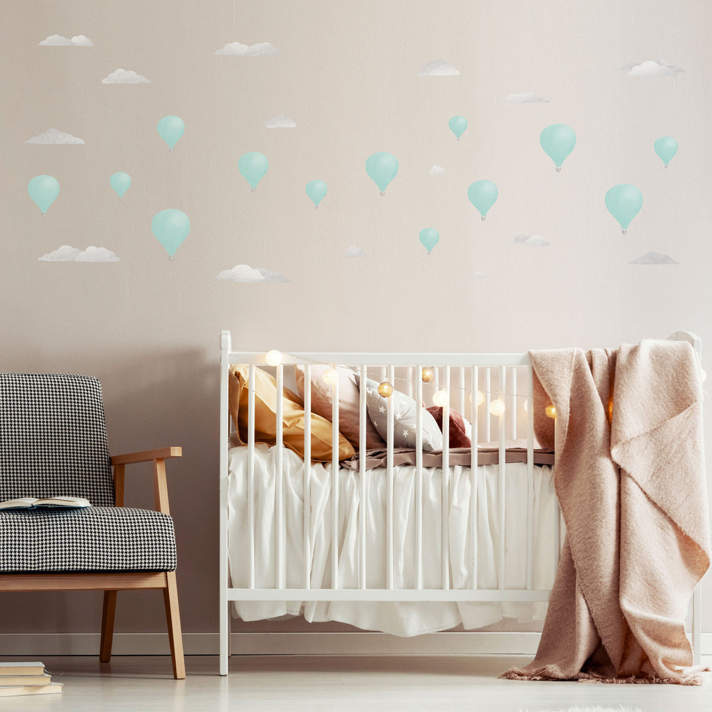 Watercolour Hot Air Balloon Theme Pack, wall decals by Made of Sundays