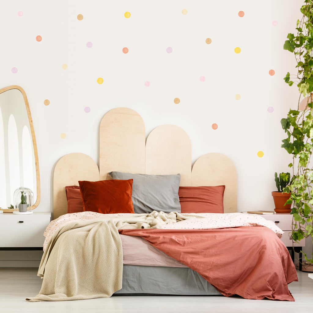 Autumn Mix Watercolour Polka Dot Wall Stickers, 6 cm