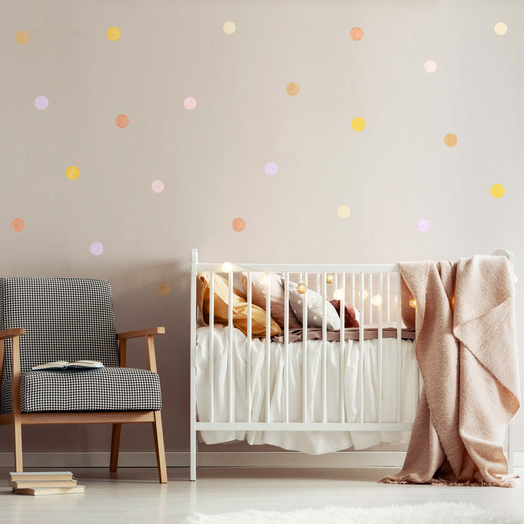 Autumn Mix Watercolour Polka Dot Wall Stickers, 6 cm, wall decals by Made of Sundays