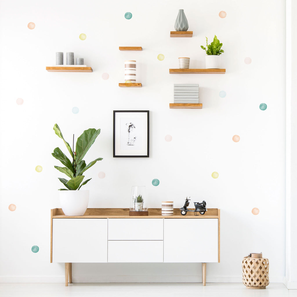 Botanical Watercolour Polka Dot Wall Stickers Mix, 6 cm, wall decals by Made of Sundays