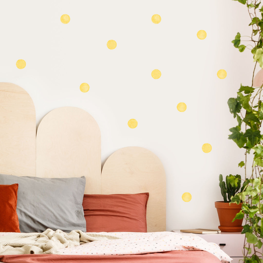 Mustard Yellow Watercolour Polka Dot Wall Stickers, 6 cm, wall decals by Made of Sundays