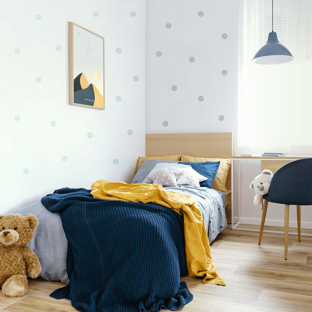 Muted Blue Watercolour Polka Dot Wall Stickers, 6 cm