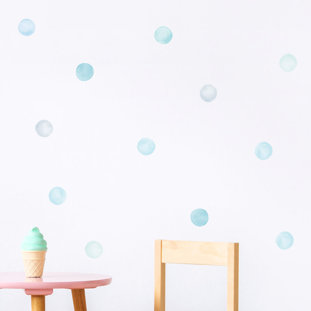 Blue Watercolour Polka Dot Mix 6 cm, wall decals by Made of Sundays