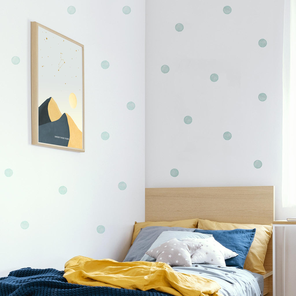 Muted Blue Watercolour Polka Dot Wall Stickers, 6 cm, wall decals by Made of Sundays