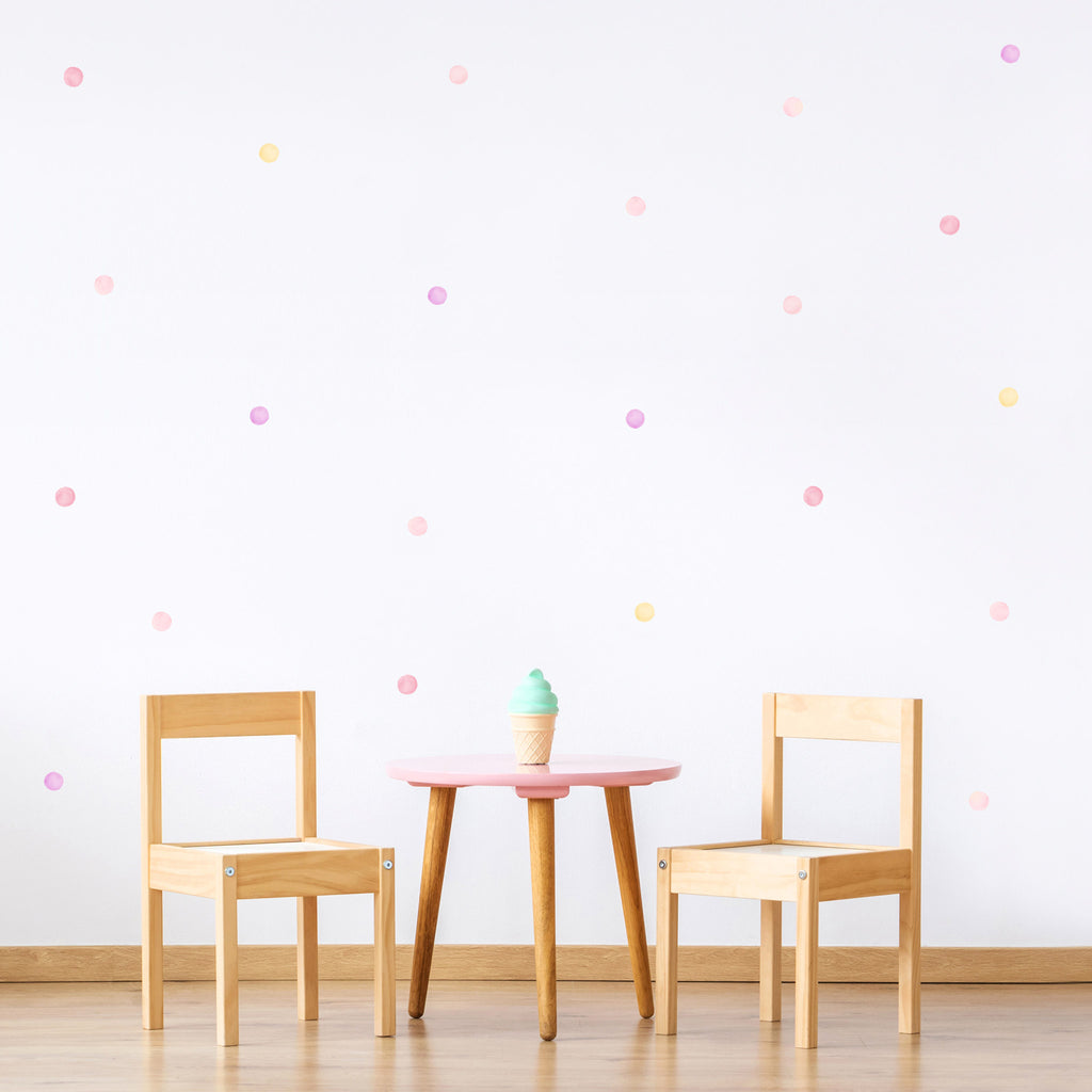 Pink Mix Watercolour Polka Dot Wall Stickers, 3.5 cm, wall decals by Made of Sundays