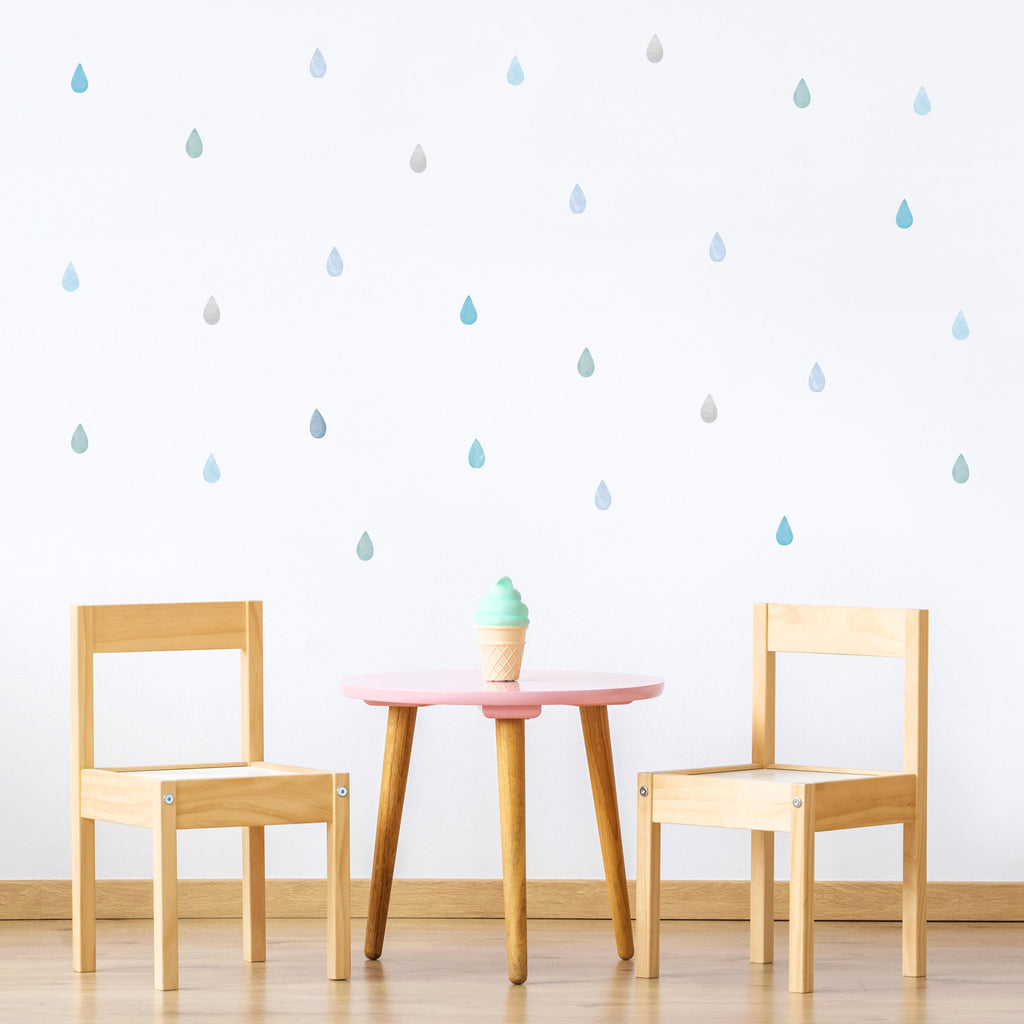 Small Watercolor Raindrops Wall Stickers, wall decals by Made of Sundays