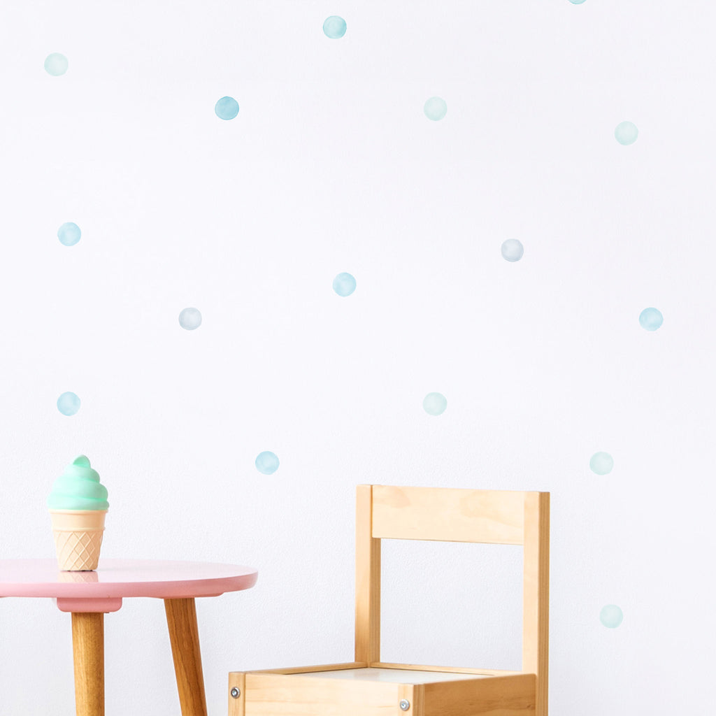 Blue Mix Watercolour Polka Dot Wall Stickers, 3.5 cm, wall decals by Made of Sundays
