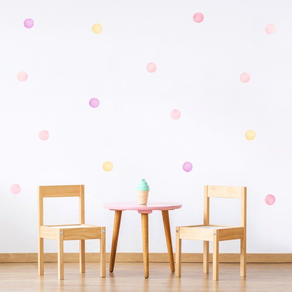 Pink Mix Watercolour Polka Dot Wall Stickers, 6 cm, wall decals by Made of Sundays