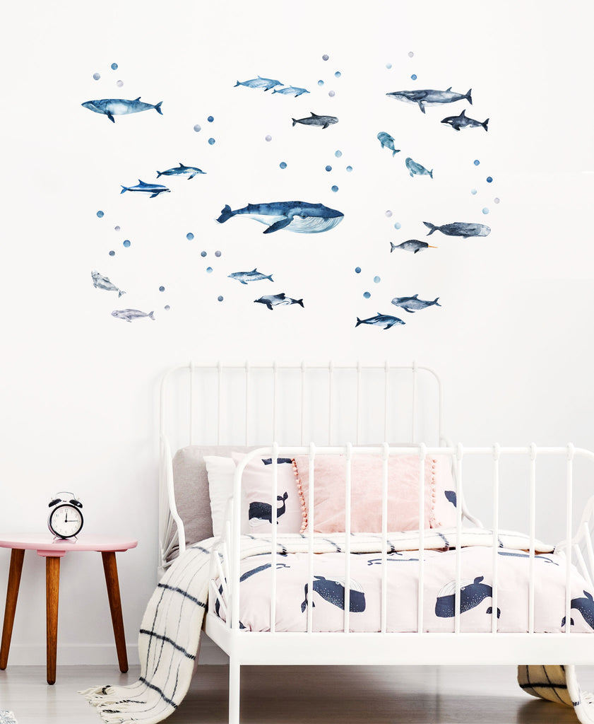 Whales and Dolphins Wall Stickers, Sea Theme Pack, wall decals by Made of Sundays