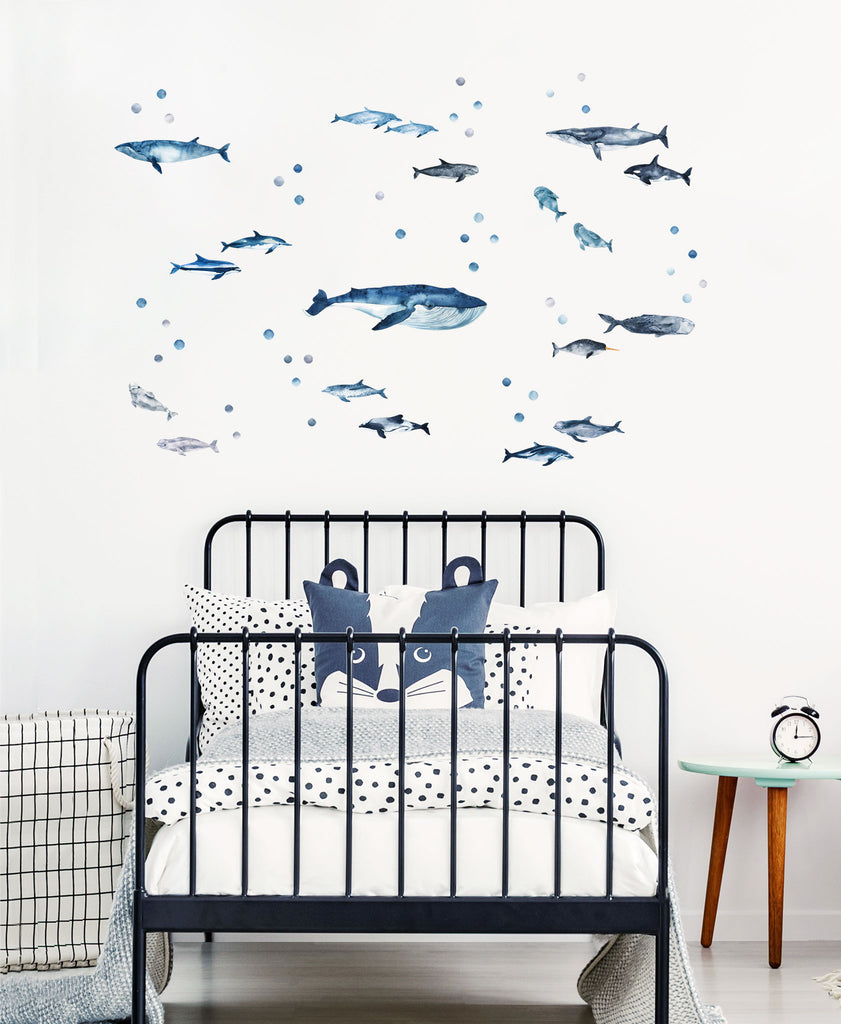 Whales and Dolphins, Sea Theme Pack, wall decals by Made of Sundays