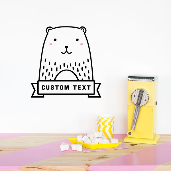 Name Decal, Haru the Bear, Wallpaper Sticker - Made of Sundays