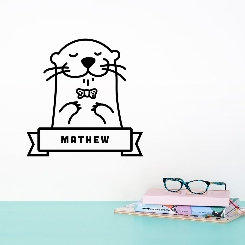 Name Sticker, Oscar the Otter, wall decals by Made of Sundays