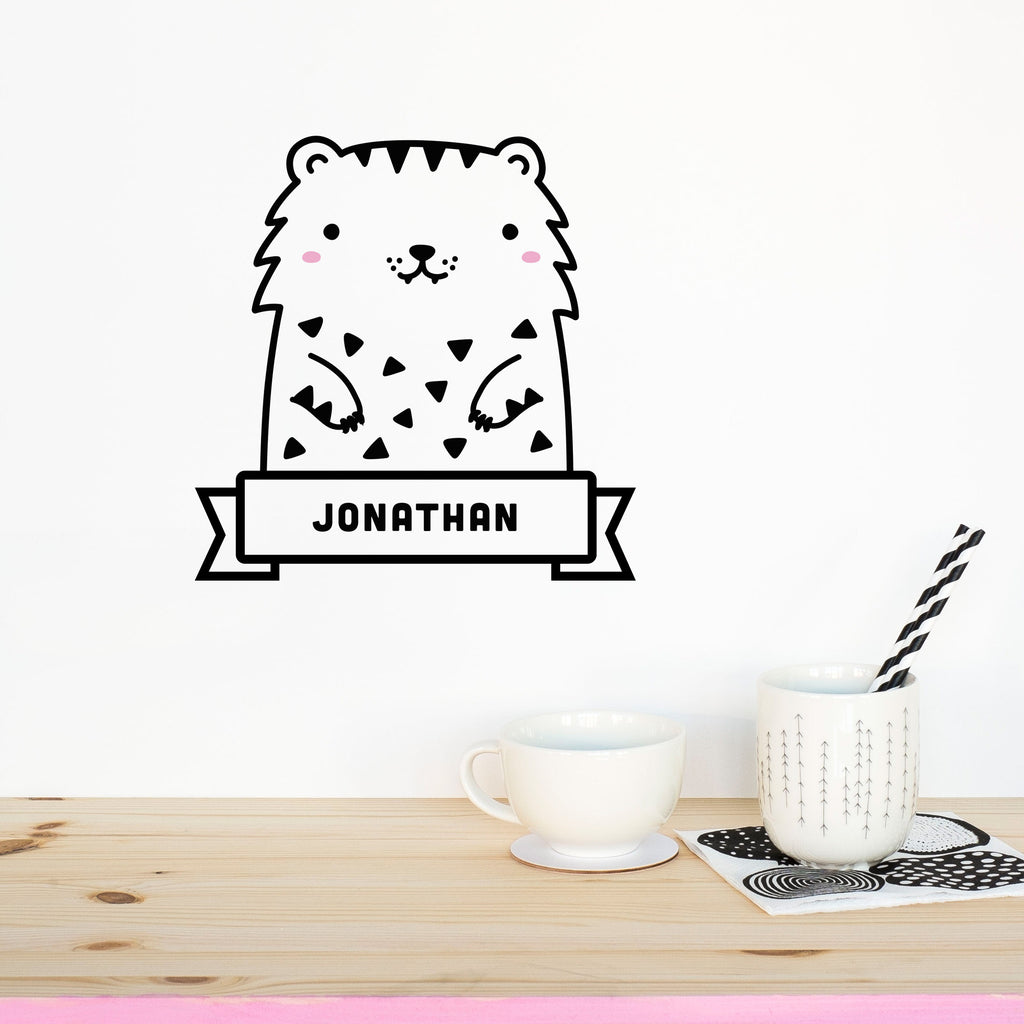 Name Sticker, Tofu the Tiger, wall decals by Made of Sundays