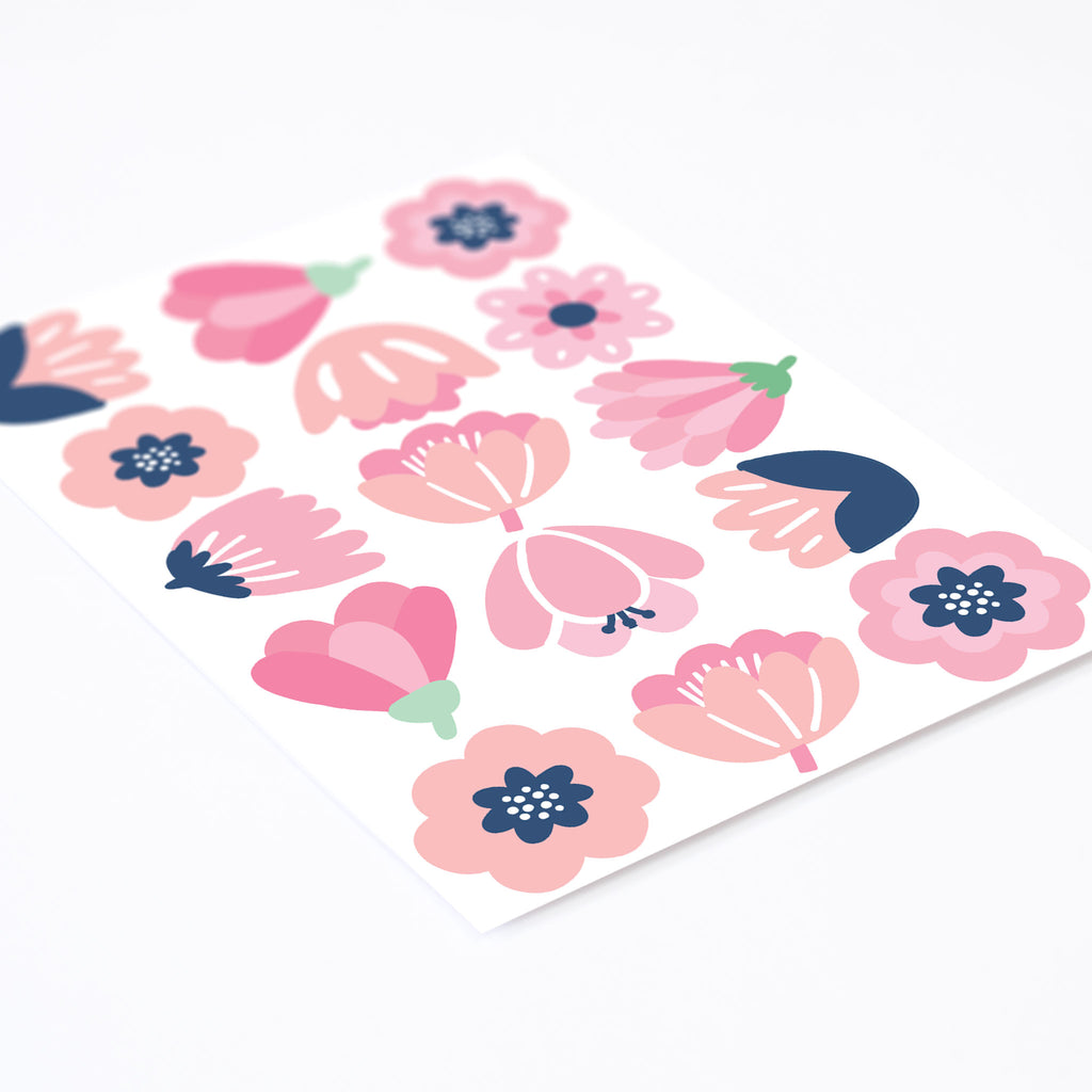 Forest Pink Flowers Wall Stickers, wall decals by Made of Sundays