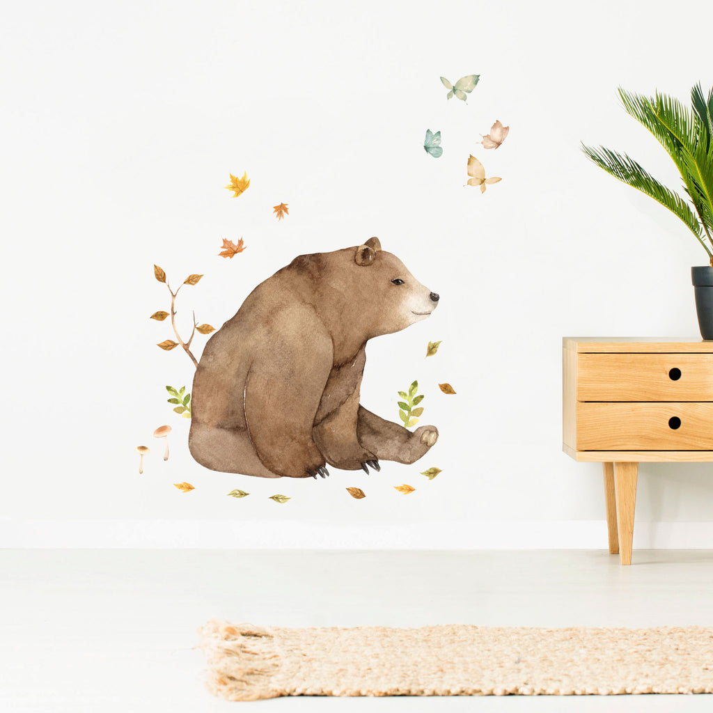 Forest Friends Brown Bear Wall Sticker, wall decals by Made of Sundays