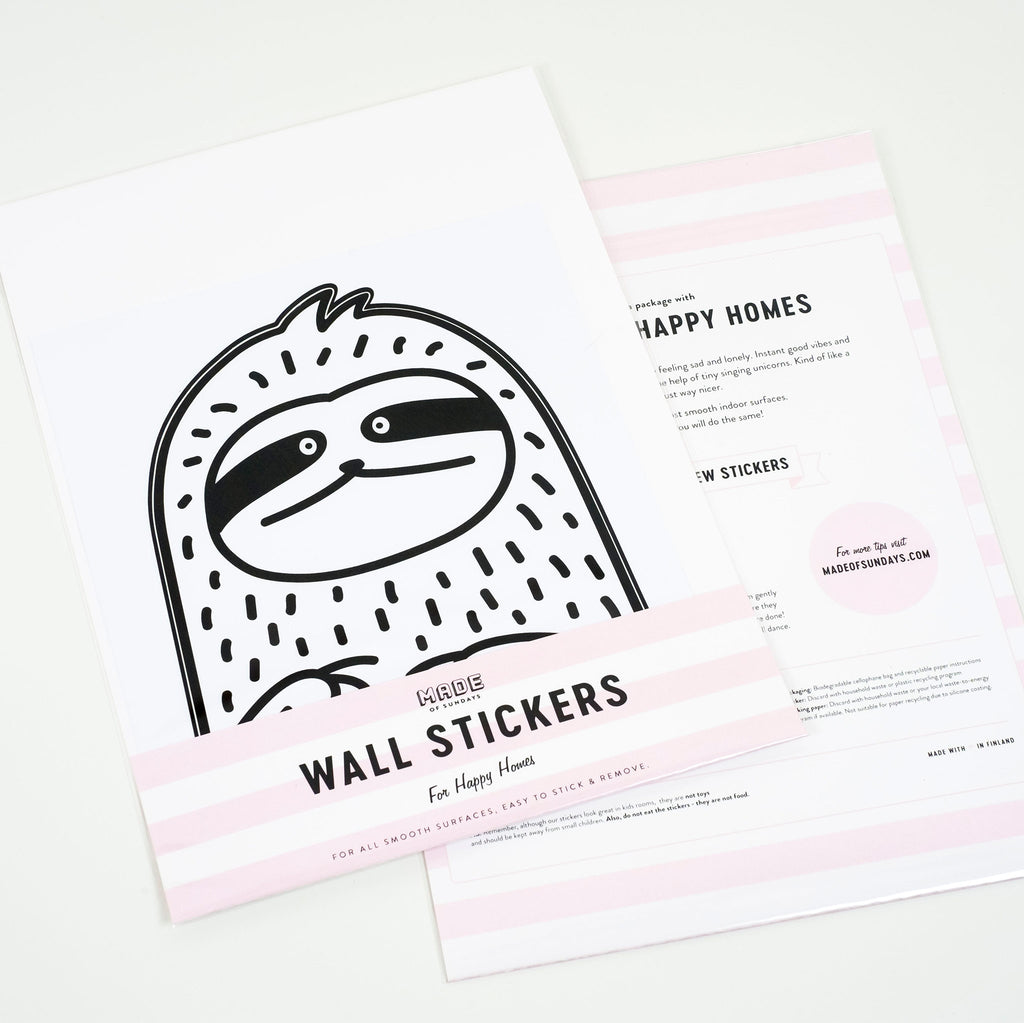 Waffles the Sloth, Small, wall decals by Made of Sundays