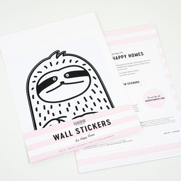 Waffles the Sloth, Small, Wallpaper Sticker - Made of Sundays