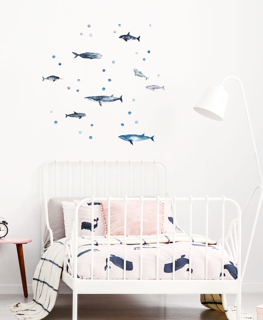 Whale Wall Stickers, wall decals by Made of Sundays