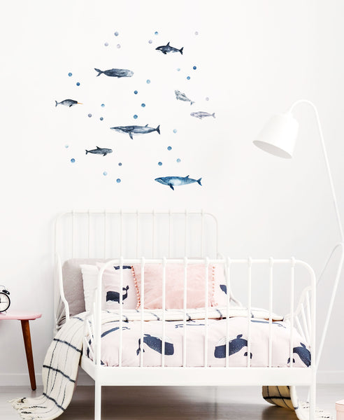 Whale Decals, wall decals by Made of Sundays
