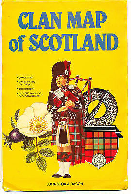 Clan Map of Scotland by George S Nicol 1980 Illustrated