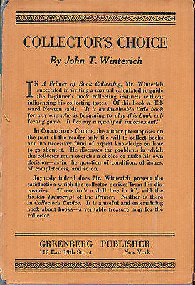 Collector's Choice by John T Winterich 1928 Edition