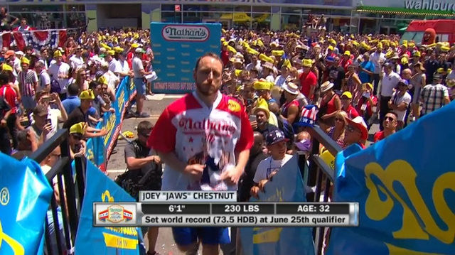 Joey Chestnut eats a record 70 Hot Dogs For New Nathan's Record