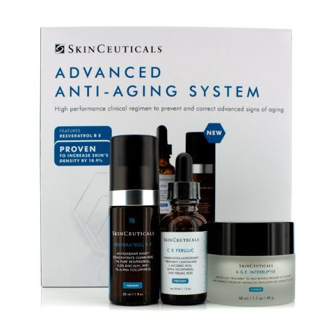 Skinceuticals Advanced Anti-Aging System: C E Ferulic 30ml/1oz + A.g.e Interrupter 48ml/1.7oz + Resveratrol B E 30ml/1o - ChosenMeds.com: Your premier online shop for the best health supplements and skin care products