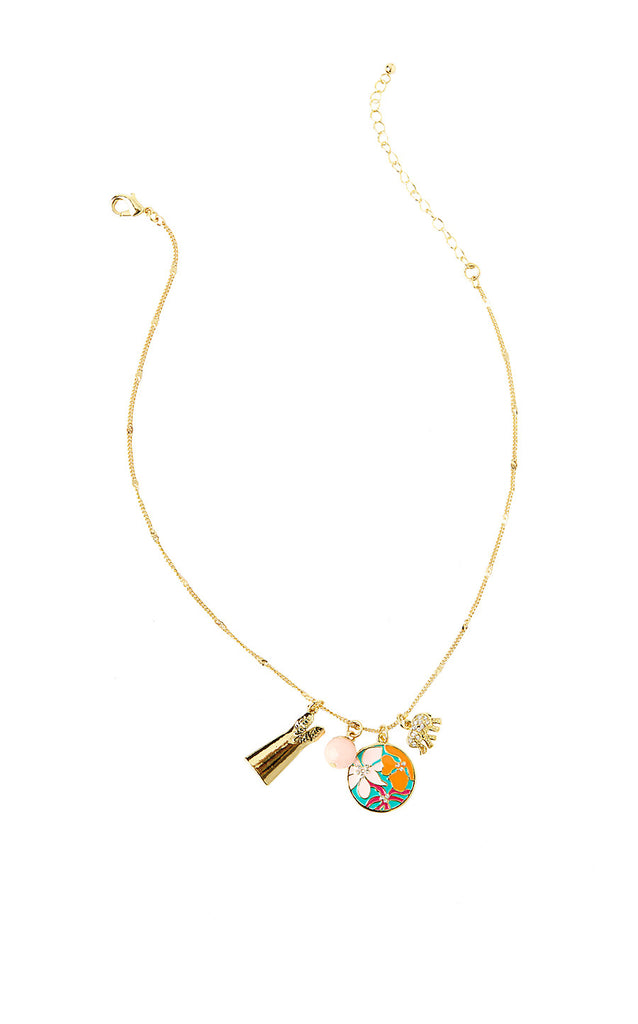 Charming Necklace - Gold Metallic Lilly Lover Charm