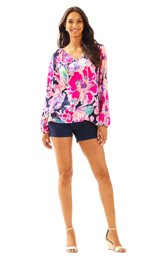 Willa Top - Bright Navy Tipping Point Navy