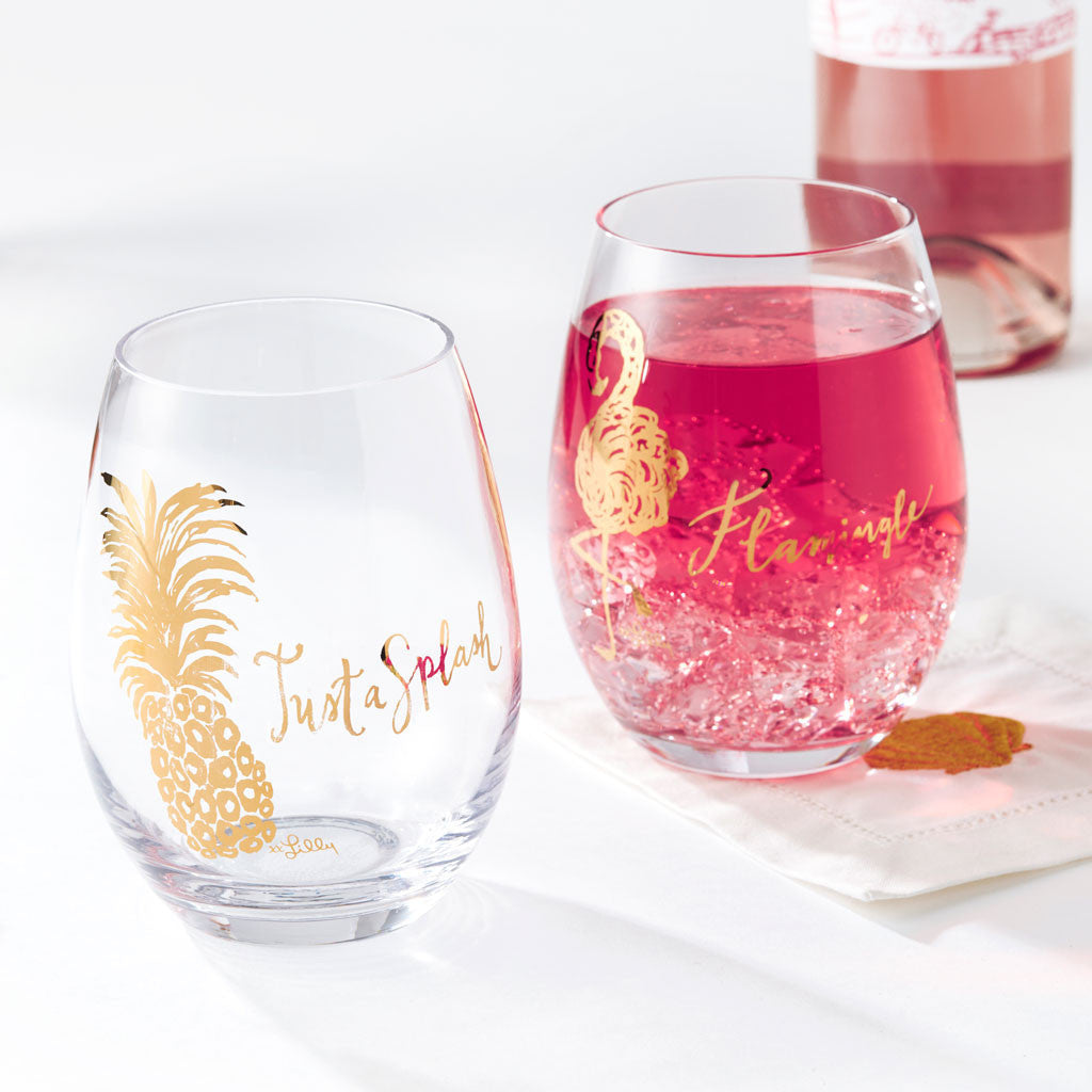 Stemless Wine Glasses - Exotic Garden (Just a Splash)