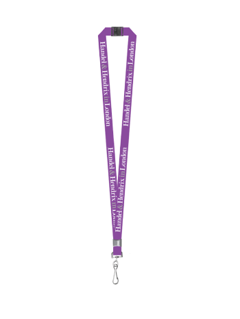 "Purple lanyard with the words ""Handel & Hendrix in London"" written on it in white and grey. It has a black neck clasp and a silver clip on the end."