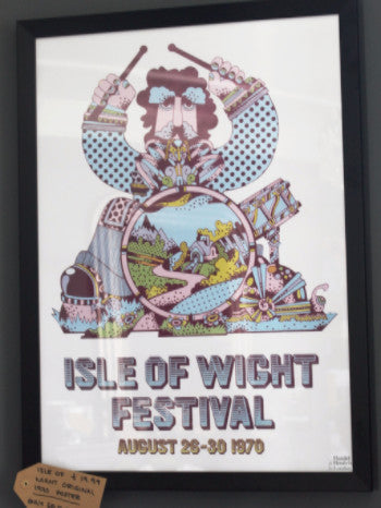 "a white A3 poster featuring a multi-coloured cartoon drummer with text at the bottom reading: ""Isle of Wight Festival, August 26-30 1970"""
