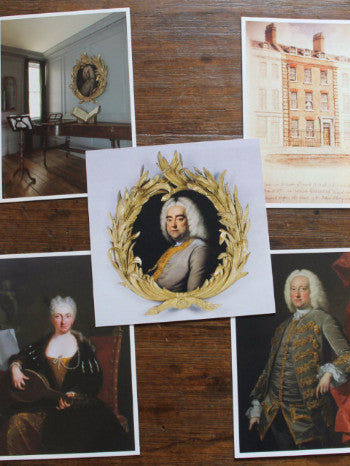 a flat lay of 5 postcards, featuring Handel's composition room, the Buckler watercolour of 25 Brook Street, a portrait of Handel, Jennens and Faustina Bordoni