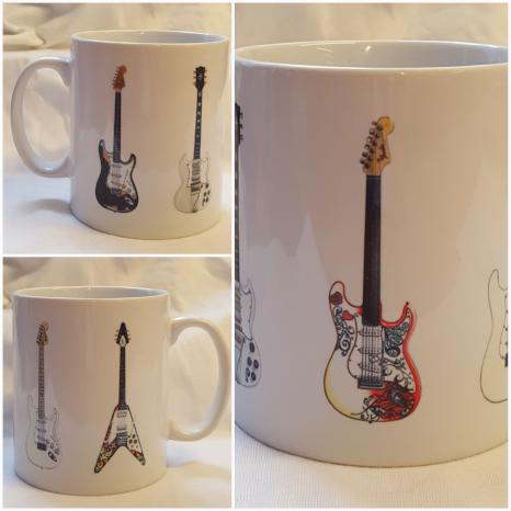 Jimi Hendrix Guitar Mug - 5 Famous Guitars, by G Morgan Illustration