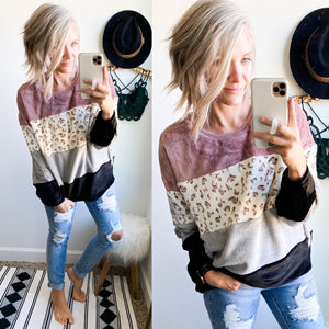 Mauve and Leopard Color Block Pullover - Maple Row Boutique
