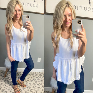 White Frayed Callie Tanks - Maple Row Boutique