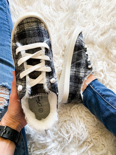 Plaid Fuzzy Lace Up Slides - Maple Row Boutique