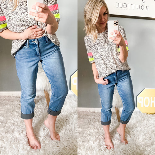 Judy Blue Therma Denim Boyfriend Cropped Jean - Maple Row Boutique