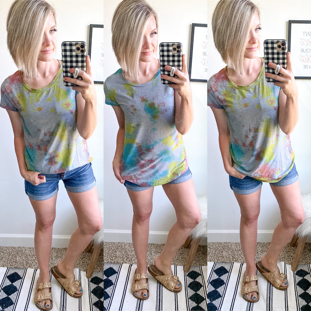 Grey Tie Dye Perfect Tee - Maple Row Boutique