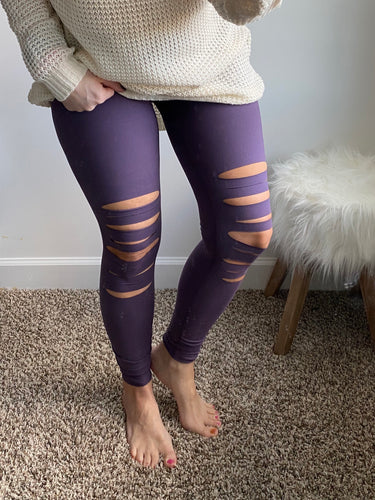 Distressed Violet Leggings - Maple Row Boutique